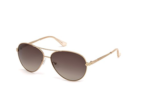 (GUESS Women's Gu7470-s Aviator Sunglasses, Shiny Rose Gold and Gradient Brown, 60 mm)