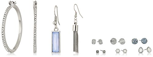 Guess Womens Earring - GUESS Womens Spring Whites 9 On Earrings Set With Stones, Silver, One Size