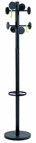 - Alba Coat Stand with Umbrella Holder, 70-Inch Height, 8 Knobs, Black (PMSTAN3N)