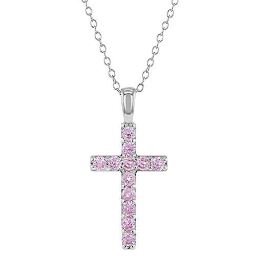 (925 Sterling Silver Pink CZ Stick Cross Religious Pendant Necklace Girls 16