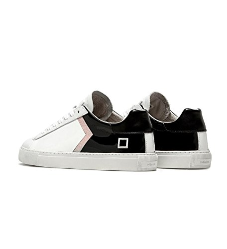 D.a.t.e. Sneakers Donna Newman Patch Patent Black White Con Patch Pelle Lucida SS 18