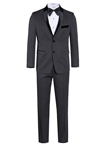 Fine Tuxedo Men's New Fashion - Classic Formal Tuxedo Suit - Ultra Soft Fabric… (36 Regular, Striped Charcoal Gray Tuxedo With Black Velvet Lapel Slim (Charcoal Gray Tuxedo)