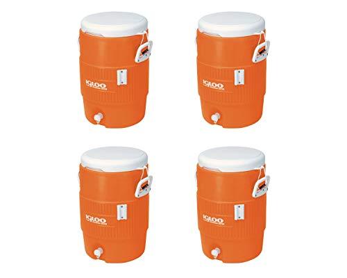 "Igloo 5-Gallon Heavy-Duty Beverage Cooler, Orange & Ultimate Drip Catcher Set (4 Set, 5-Gallon, 14.5"" x 13"" x 19.5"", Orange)"
