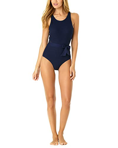 (Anne Cole Women's Crochet High Neck One Piece Swimsuit, in First lace Solid Navy, 8)