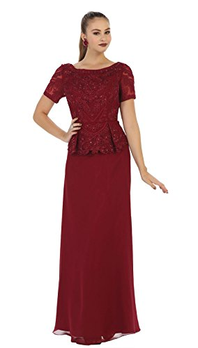 May Queen MQ1427 Classy Short Sleeve Mother of The Bride Dress (M, Burgundy)