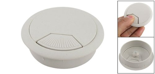 Computer Desk Table Light Gray Plastic Grommet Cable Hole Cover