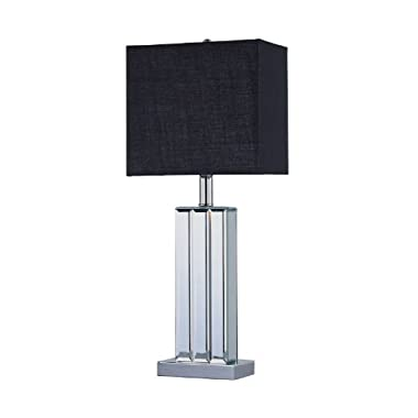 Park Madison Lighting PMT-1203 23-3/4-Inch Tall Park Madsion Lighting Beveled Glass Mirror Table Lamp with Hand Crafted Rectangular Black Shade
