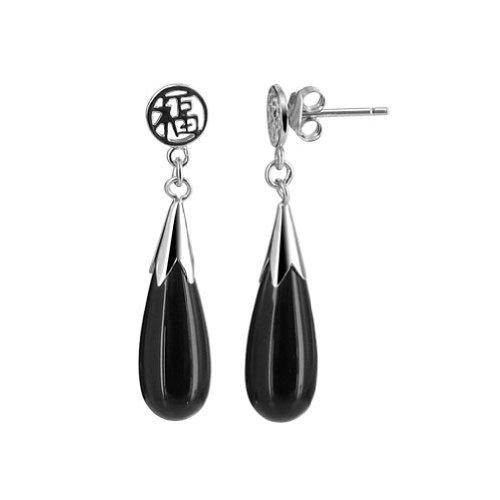 Gem Avenue 925 Silver Post Back Teardrop Black Onyx Chinese Good Luck Dangle Earrings for Women