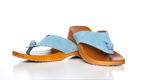 Cuero De Zuecos Azul Mujer Bur Claro Clogs Para qBppnSF