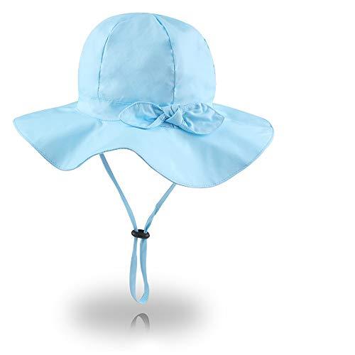 - XIAOHAWANG UPF 50+ Baby Girl Sun Hat Bowknot Wide Brim Bucket Outdoor Toddler Summer Beach Cap Solid Color (Blue, 18.9