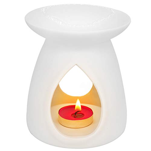 Ivenf Tear Drop Vase Shape Ceramic Tea Light Holder, Aromatherapy Essential Oil Burner, Wax Melt Warmer