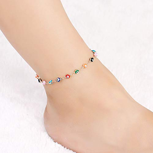 - Yalice Dainty Evil Eye Anklets Ankle Colorful Foot Chain Bracelet Beach Jewelry for Women and Girls (Gold)