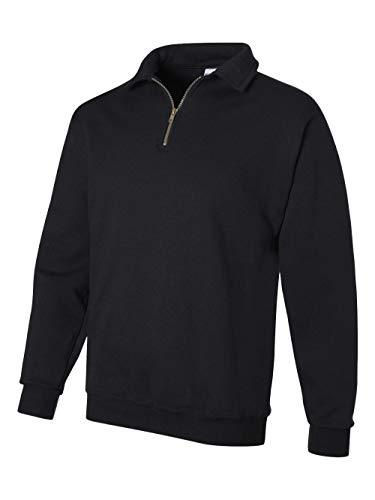 Jerzees mens 9.5 oz. 50/50 Super Sweats NuBlend Fleece Quarter-Zip Pullover(4528)-BLACK-XL