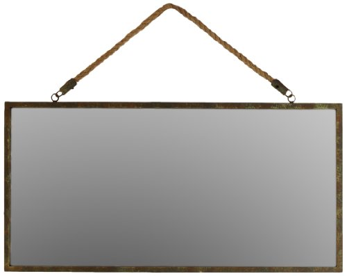 Metal Rectangular Wall Mirror with Rope Hanger Tarnished Finish Bronze (Mirror Living Collection Urban)
