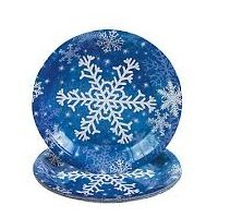 Christmas Holiday Snowflake Dessert Plates 8 Count