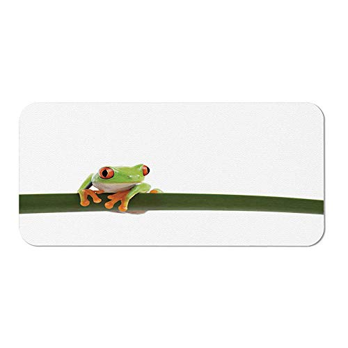 Animal Decor Ordinary Mouse Pad,Red Eyed Tree Frog Perches on a Long Slim Leaf Tropic Rainforest Animal Wild Life Photo for Computers Laptop Office & Home,15.75''Wx23.62''Lx0.08''H