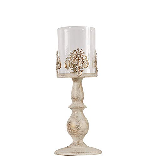 European Retro White Candlestick Antique Metal With Glass Cover Windproof Candle Holders Classical Carved Design Vintage Romantic Home Decoration For Wedding Desktop Garden Lighting ( Size : H:32cm )
