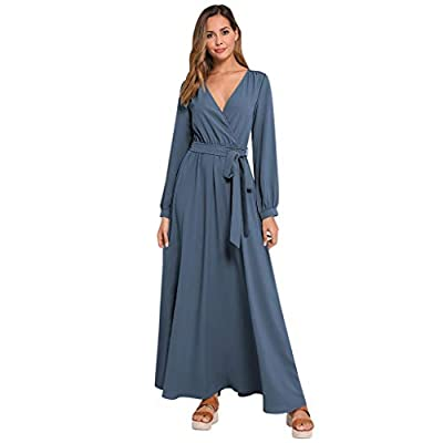 Muranba Womens Dresses Fashion V Neck Long Sleeve Printed Dress Beach Long Dress