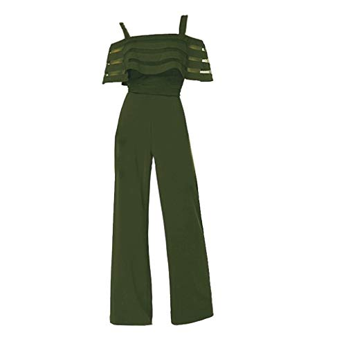 (Yucode Women Jumpsuit Rompers,Printing Camisole Playsuit Wide Leg Sports Outfit Jumpsuits with Pockets Green)