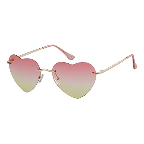 Sunglass plage forme ADEWU monture de sans de Yellow en lunettes coeur Femmes fille Red New xUqqYwa1