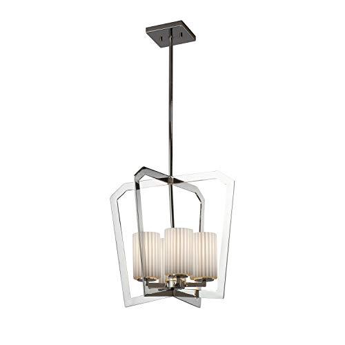 Justice Design Group Lighting POR-8014-10-PLET-CROM Limoges Aria 4-Light Chandelier - Polished Chrome Finish - Cylinder with Flat Rim Translucent Porcelain Shade with Pleats - Chandelier Light 10 Aria