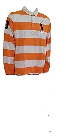 Boys Ralph Lauren Rugby Polo Shirt (1510-10) Orange/Cream Size XL (18-20yrs)