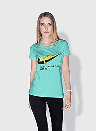 Creo Simpson Minions Round Neck T-Shirt For Women - Green, L