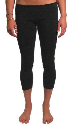 Roll Down Mid-Calf Yoga Legging by Hard Tail (Black, Medium)