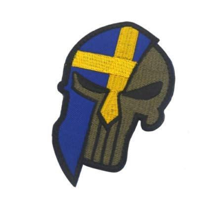 Sweden Flag & Punisher Skull & Spartan Molon Labe Halloween Military Patch Fabric Embroidered Badges Patch Tactical Stickers for Clothes with Hook & Loop -