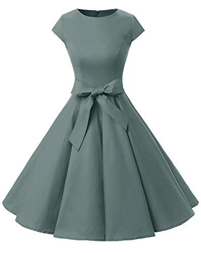 Dressystar DS1956 Vintage 1950s Retro Rockabilly Prom Dresses Cap-Sleeve XXL Grey