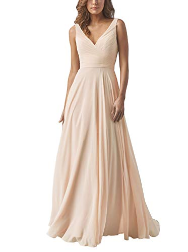 - Yilis Double V Neck Ruched Chiffon A-line Bridesmaid Dress Wedding Evening Party Dress Nude Pink US4