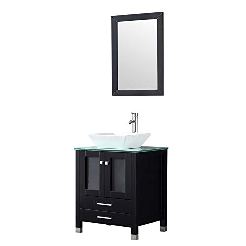 - Walcut 24 inch Modern Bathroom Vanity and Sink Combo Wooden Cabinet Stand Pedestal with White Square Ceramic Vessel Sink with Chrome Bathroom Solid Brass Faucet and Pop Up Drain