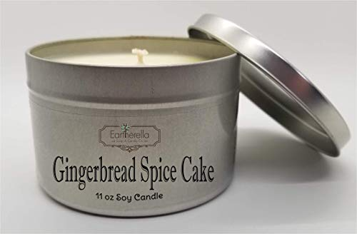 - GINGERBREAD SPICE CAKE Natural Soy Wax 11 oz. Tin Candle, long 60+ hour burn time