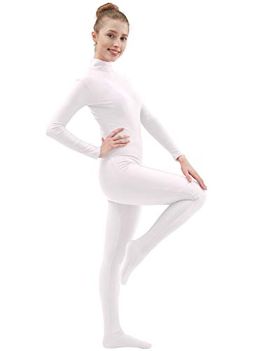 Ensnovo Womens Lycra Spandex Zentai Suits One Piece Footed Unitard White,L
