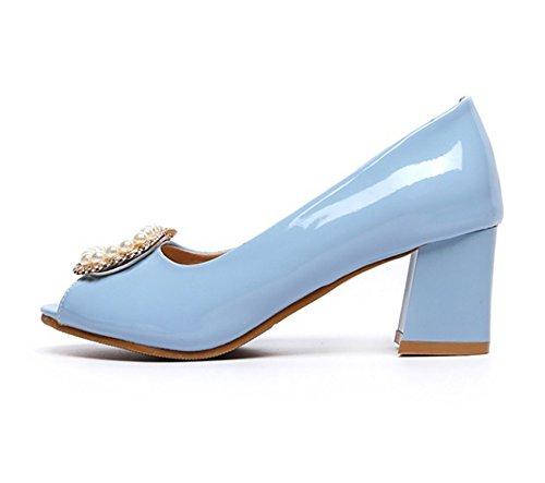 Mode Bureau Avec A A RAZAMAZA Strass Sandales Bloc Bleu Femme Toe Peep Enfiler Chaussures Perles OAagaxqw