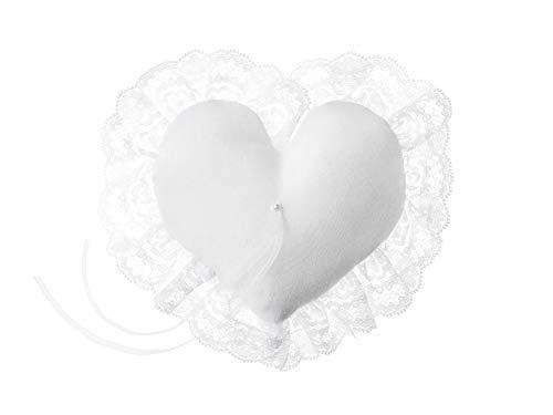 Cojín para anillos de boda con forma de corazón blanco con ...