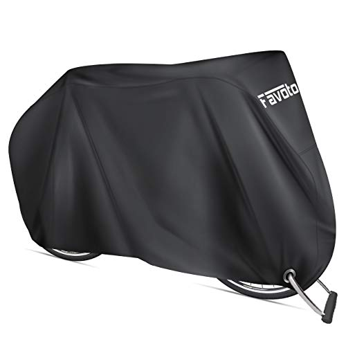 Favoto Bike Cover Waterproof Outdoor Bicycle Cover Thicken Oxford 29 Inch Windproof Snow Rustproof with Lock Hole Storage Bag for Mountain Road Bike City Bike Beach Cruiser Bike (Black)