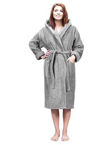 Hooded Terry Bathrobe for Women and Men, Turkish Cotton Terry Cloth Robe (Gray, XX-Large)