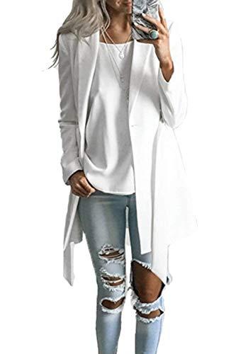 Maniche Maniche Maniche Donna Lunghe Lunghe Lunghe Lungo Lunghi Elegante Giubotto Button Inclusa Leggero Monocromo Giovane Tempo Primaverile Moda Sudore Chic Estivi Giorno Outerwear Libero Blazer Whitee Blazer Cintura Ydnnx0q