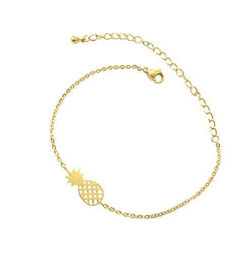 Altitude Boutique Pineapple Bracelet, Hawaii Bracelet, Fruit Bracelet Charms, Tropical Bracelet for Women (14k Gold Fruit Charm)