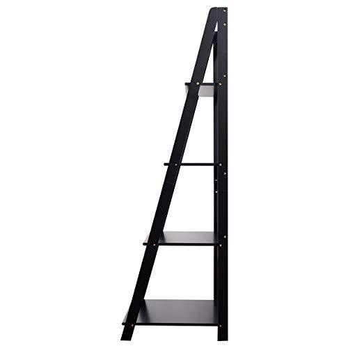 Tangkula 4 Tier Ladder Shelf Bookcase Leaning Home Office Free Standing Wooden Frame Decor Bookshelf