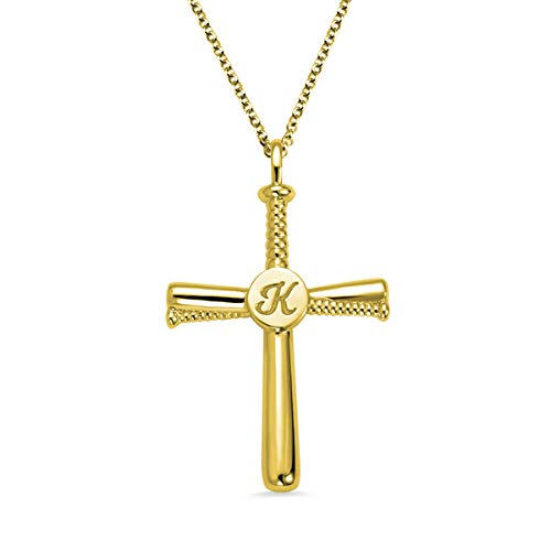AILIN 925 Sterling Silver Personalized Baseball Cross Necklace Initial Name Pendant Mens Jewelry Sports Cross Necklaces Boys Gold Plated Size 18