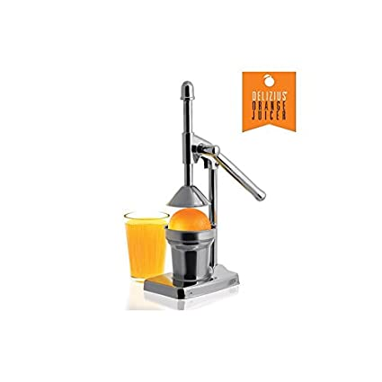 Delizius Deluxe Orange Juicer Exprimidor Manual con Palanca, Acero Inoxidable, Plata, 13 x