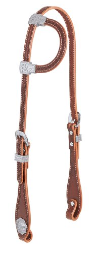 (Weaver Leather Hand Tooled Flat Sliding Ear Headstall with Sunburst Border)