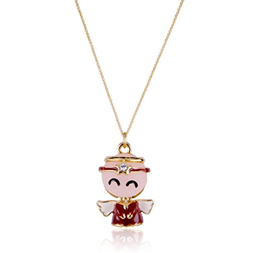 ISAACSONG.DESIGN I's Gold Plated Cute Angel Joy with Wings Austrian Crystal Necklace Austrian Crystal Angel Necklace