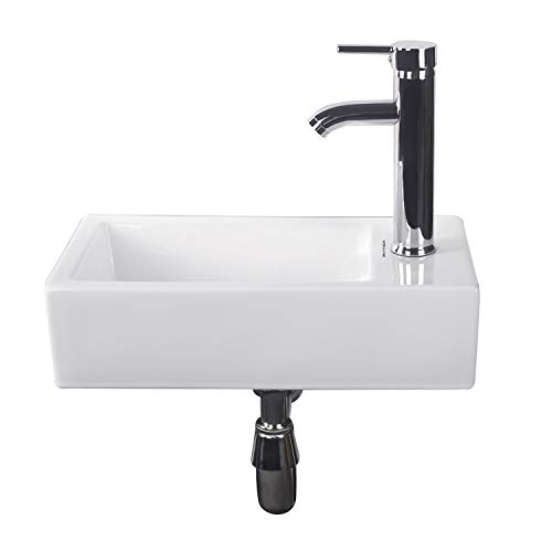 Walcut Bathroom Wall Mount Rectangle Corner Sink White Porcelain Ceramic Vessel Sink & Chrome Faucet Combo