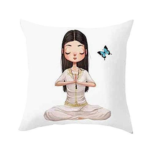 GREFER Cute Yoga Meditation Pillowcase Decoration Car Sofa Cushion Cover Waist Cushion Cushion Cover (White -H)]()