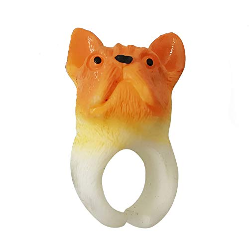 AMOBESTER Cute Puppy Ring Silicone Animal Party Rings Adjustable for Children