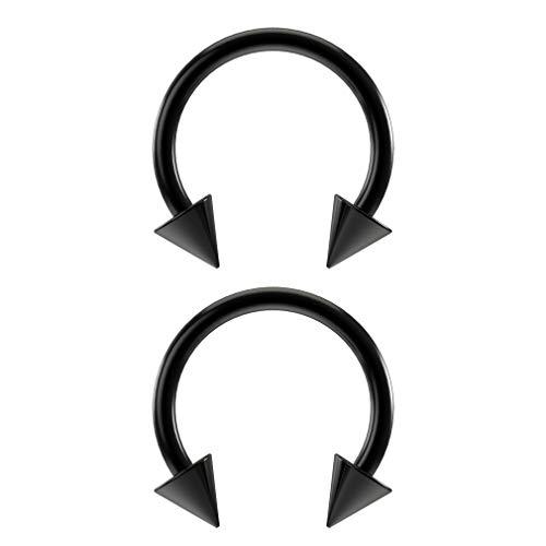 Cone Horseshoe Ring - Bling Piercing 2pc Black Horseshoe Earrings 18g Circular Cartilage Barbell Rings Anodized Black Lip Hoop 8mm Spike