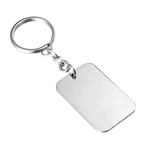 HooAMI Stainless Steel Engravable Polished Rectangle Keychain 40mmx25mm